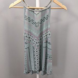 Maurices Mint Braided Trim Tribal Print Halter Top